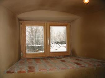 Lehmputz in der Fensterlaibung